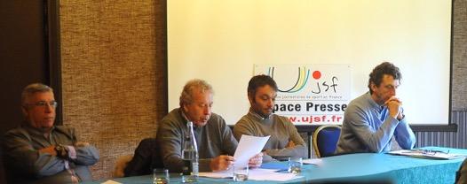 Aux côtés de Jean-Marc Michel, président national de l'UJSF : Jean-Claude Virfeu, Stéphane Bois et Christian Chéron. (Photos Pascal Allée)