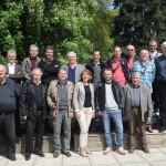 Les journalistes sportifs de l'Ouest rassemblés autour de Nicole Bouillon, vice-présidente du Conseil général de Mayenne.
