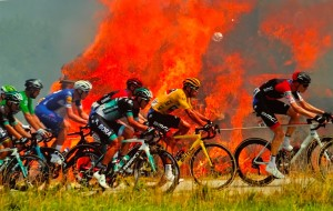 Le cliché victorieux réalisé lors du dernier Tour de France par Stéphane Mahé de l'agence Reuters