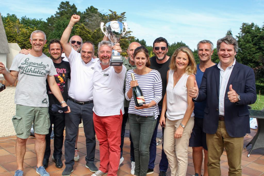 Franck Louvrier, lors de la remise des Prix du National UJSF de Golf 2017, en compagnie de nos amis de Canal +, vainqueurs du challenge par équipe.